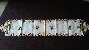 "Easter Bunny Eggs Table Runner Dresser Scarf 68""x 13"" Embroidered Design"