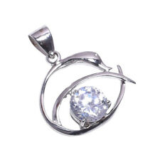 925 Sterling Silver Handmade Zircon Stone Pendant NLG-976 Rhodium Plated Chain