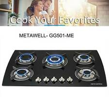 """Metawell 30"""" Built-in 5 Burner Lpg/Ng Gas Hob Cooktops Glass Tempered Glass"""