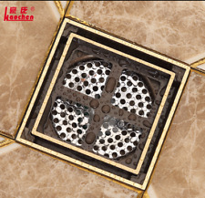 Brushed Gold Brass Square Floor Drainer Balcony Bathroom  Accessories Deodorant