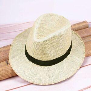 Mens Handmade Straw Panama Hat Flat Wide Brim Cowboy Cap Summer Beach Sun Hats