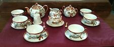 Signed Geisha Kutani Porcelain Tea Set Japan Service for 4