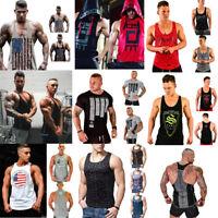 Mens Muscle Bodybuilding Sleeveless Shirt Tank Top Gym Blouse Fitness Sport Vest