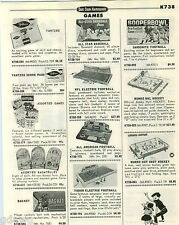 1968 PAPER AD Electric Football Browns Giants NFL NHL Hockey Bobby Hull Ideal