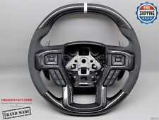 Ford Raptor F150 17-19 Flat Top Bottom 10 White Alcantara Carbon Steering Wheel