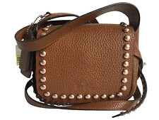 NWT COACH RIVETS DAKOTAH 14 CROSSBODY IN PEBBLE LEATHER 35750 Saddle $350
