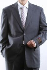MENS TWO BUTTON GRAY TONAL STRIPE DRESS SUIT SIZE 44L, PL-65712N-GRE