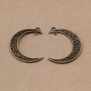 Tibetan Moon Charm Pendants Antique Silver40mm Pack of 3