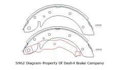 Parking Brake Shoe Set-Dash4 Rear Dash 4 Brake B962