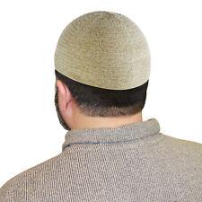 Cream One Size Fits Most Velvet Cotton Stretchable Plain Kufi Mens Prayer Cap
