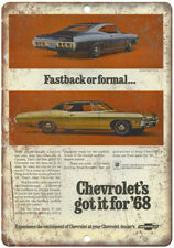 "1968 Chevy Impala Vintage Print Ad Retro Look 10"" x 7"" Reproduction Metal Sign"