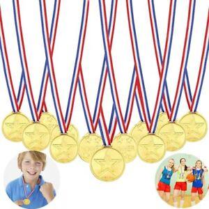 25 Kids School Sports Day Teacher Reward Winner Gold Plastic Medals & Lanyards