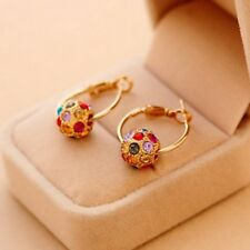 Gold Earrings Ear Dangle Earring Gift Women Elegant Crystal Rhinestone Ball Lady