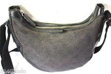 Vintage GUCCI GG Monogram Canvas Leather Sling Shoulder Bag Black Italy
