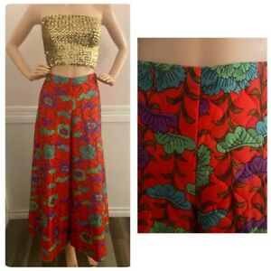 Vintage 60s 70s psychedelic Hand Sewn Quilted Palazzo Pants Size S Red