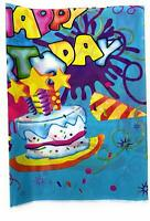 AEX Birthday Disposable Tablecloth Cover Plastic Party Tableware (Blue, Cake)