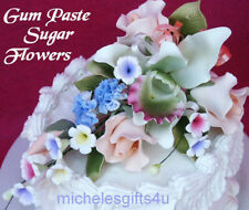 Sugar Gum Paste Peach Roses, Carnations, Green Orchid Cake Decorating Flowers