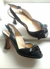 Hobbs Vintage 30 S/40 S Cuir Noir Plateforme Sandales Chaussures Taille 7/40 Goodwood