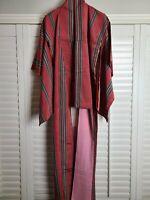 Vintage Kimono Traditonal Japanese Jacket Robe Geisha Red Striped Lined