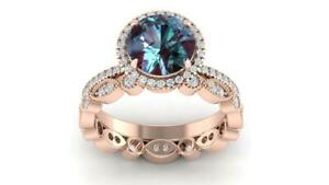 2Ct Round Cut London Blue Topaz Bridal Engagement Ring 14K Rose Gold Finish