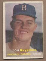 1957 Topps baseball card #18 Don Drysdale, Brooklyn Dodgers, EX- condition