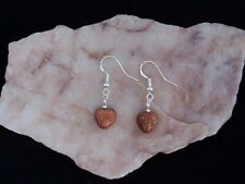 Sparkling Gold Sandstone 10 mm Heart, 925 Sterling Silver Hook Earrings.Handmade