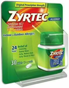 Zyrtec Indoor & Outdoor Allergy Relief (10 mg) 30 Tablets - New - Free Shipping