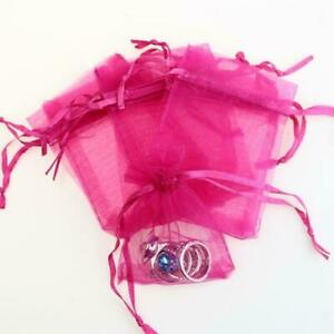 50PCS Hot Pink Sheer Organza Wedding Party Favor Gift Candy Bags Jewelry Pouches