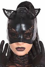 Coquette Negro Gatito Gato Orejas De Encaje De Mujer Máscara de Halloween vestido elegante aspecto húmedo
