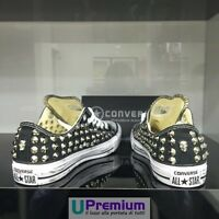 Converse All Star Black Skull Low Scarpe Borchiate Handmade Borchie Uomo Donna C