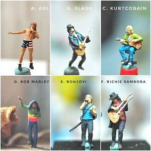 Miniature Figure AXL, Slash, Kurt Cobain, Marley  Scale 1/87 or 1/64 Diecast
