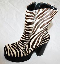 VINTAGE Steve Madden Dwayne Zebra Print Leather MID CALF BOOTS PLATFORM HEELS 6