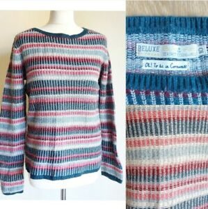 Deluxe Seasalt Wool Blend Striped Lankelly Knitted Jumper Size 10