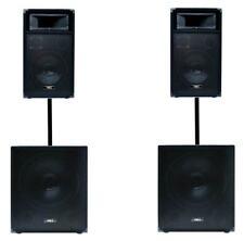 2200W DJ PA Lautsprecher Anlage2 Subwoofer + 2 Topteil Lautsprecheranlage -NEU