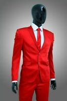 Herrenanzug in Rot Satin - Anzug Bühne Event Sakko Hochzeit Smoking Jacke Hose