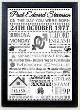 The day you were born Black & Grey Birthday personal memory A4 Framed print gift