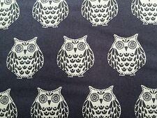 Makower Papillon Owls Grey 100% cotton fabric, fat quarter, free p&p,