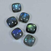 12X12MM Natural Blue Labradorite 6Pcs Square Cabochon Gemstone 52Cts. Lot c116
