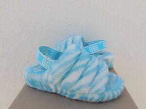 UGG CLEAR WATER FLUFF YEAH ZEBRA SHEEPSKIN SLIPPER SANDALS, US 7/ EUR 38 ~NIB