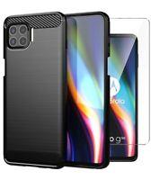For Motorola Moto G 5G Plus Case Carbon Fibre Cover & Glass Screen Protector