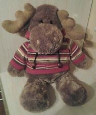 "Dan Dee Moose 22"" Collector's Choice Plush Brown Stripped Hoodie"