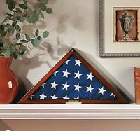 Military Flag Display Case with Personalized Brass Plaque | Holds 5' X 9.5' Flag