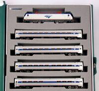 Kato 106-8001 N Amtrak ACS-64 and Amfleet I Phase VI 5-Unit w Bookcase Set