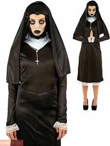Ladies Scary Gothic Nun Costume Womens Halloween Fancy Dress Womens Zombie