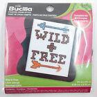 """Mini Cross Stitch Kit Wild  Free Arrows 3"""" x 3"""" with Frame Included Bucilla NIP"""