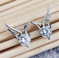Elegant Womens Angel Wings Jewelry Girls Chic Crystal Silver Ear Stud Earrings