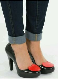 Melissa Shoes 7 40 Black Red Heart High Heel Pin Up Sexy Cute Party Rockabilly