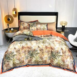00%Egyptian Cotton Duvet Cover 4/6Pcs Zipper Bedding Set Bed Sheet Pillowcases