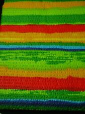NEW SEERSUCKER BRIGHT COLOURS STRIPE RED GREEN  BLUE TABLECLOTH 145 CM  X 230 CM