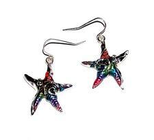 EARRINGS Wires Bright Rainbow Enamels Dangles Star Fish STARFISH & SWIRLS